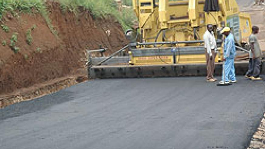 One of Kigali feeder roads under construction recently. KCC has embarked on a massive campaign to boost road networks within the city (File Photo)