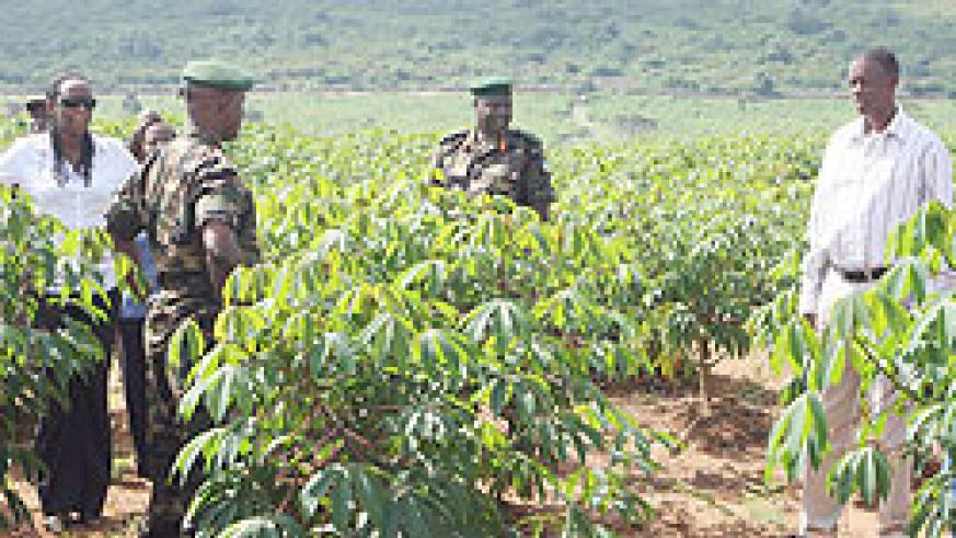 The Minister of Defence, Gen. James Kabarebe (R) during the tour of 600 hectare cassava plantation in Mayange Sector, Bugesera District.  (Courtesy photo)