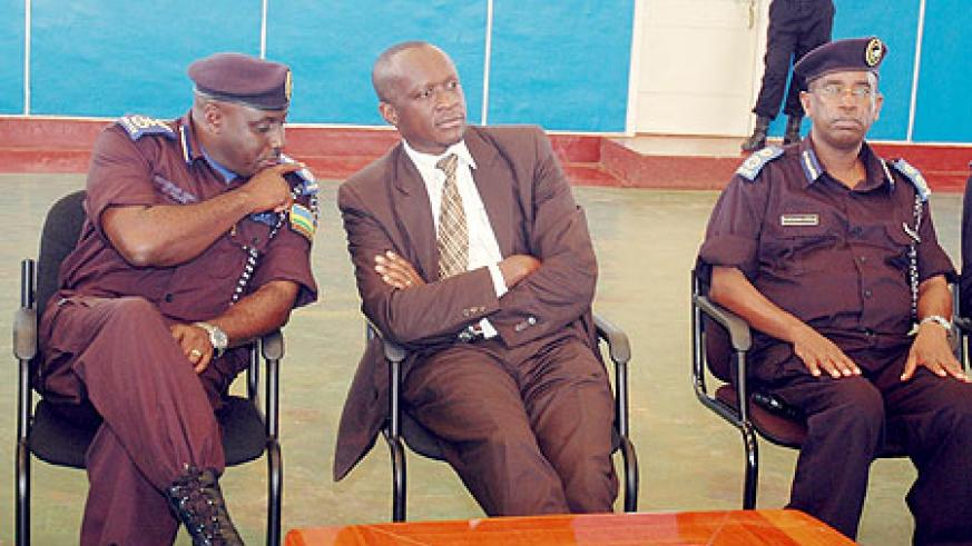 Commissioner and General of Police, Emmanuel Gasana (l), Minister of Sports and Culture, Joseph Habineza and Deputy Commissioner  Genereral, Stanley Nsabimana at the event yesterday. (Photo / F. Goodman)