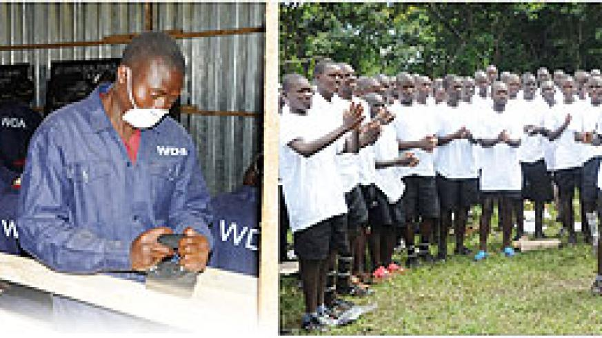 L-R : Iwawa trainees ; Minister Mitali joins the youth to sing.