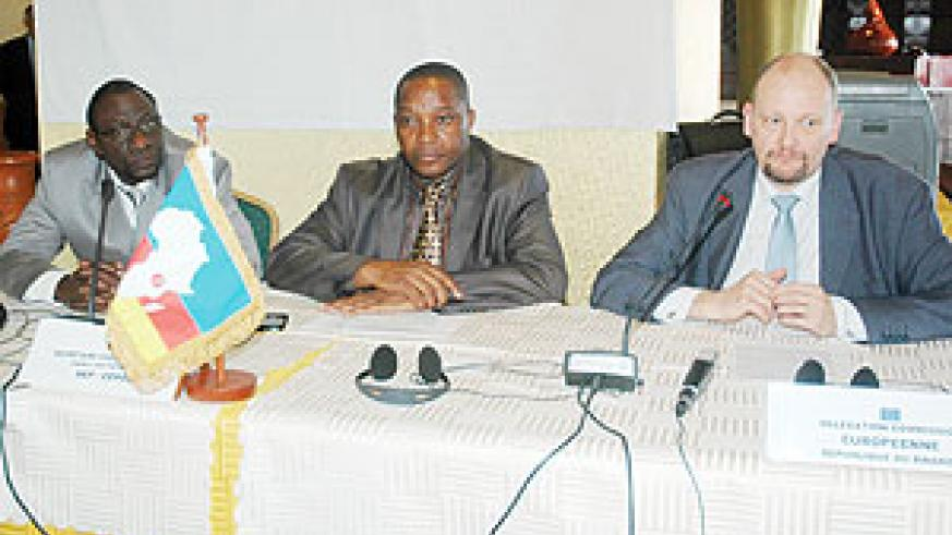 Prof Luaba Luba Luma Ntumba (in charge of Programes at CEPGL), Jean Paul BANDEREMBAKO, the Director of Administration and Finance , and the EU Head of Delegation in Rwanda, Michel Arrion at the event yesterday (Photo by F.Goodman)