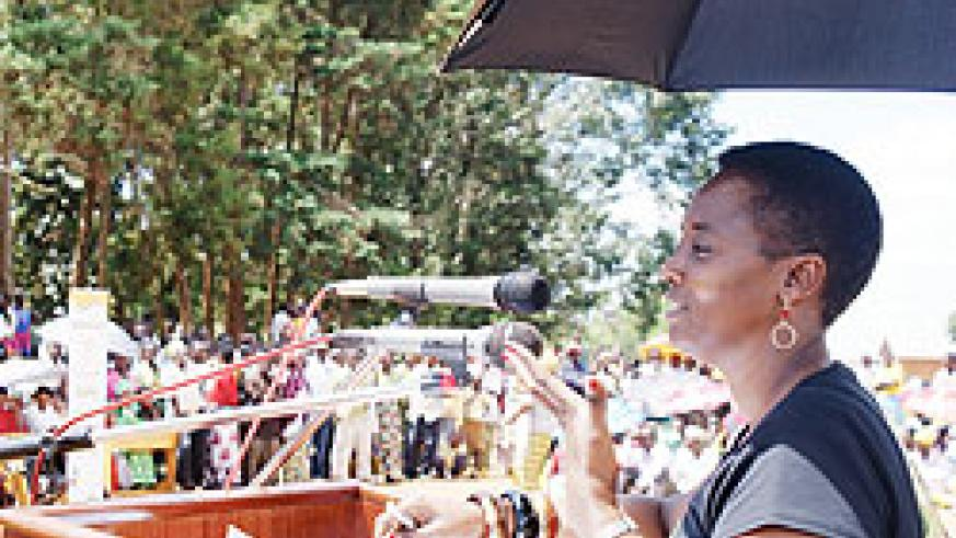 RRA Commissioner General Mary Baine  addressing residents at the Taxpayer's  Day celebrations in Gatsibo district (Courtsey Photo)