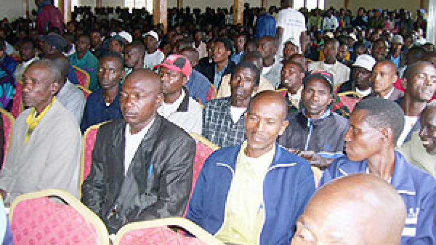 Gicumbi District local leaders listening to speeches delivered by local leaders at Hotel Urumuli on Tuesday. (Photo:  A. Gahene)