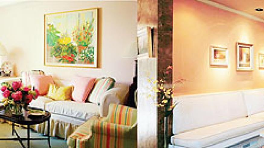 L-R : Living rooms can be inspired by a painting- the colours used here are bright and welcoming ; Moods can be created through themes.