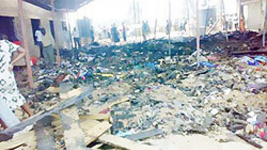 The shoe section of the market that was completely destroyed by fire (Photo; F. Ntawukuriryayo)