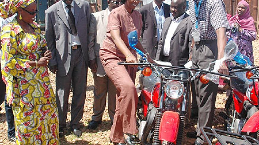 Colette Ruhamya Uwineza during the ceremony to receive the donation of 61 motorcycles from UNICEF and the Dutch embassy (Photo; F. Goodman)