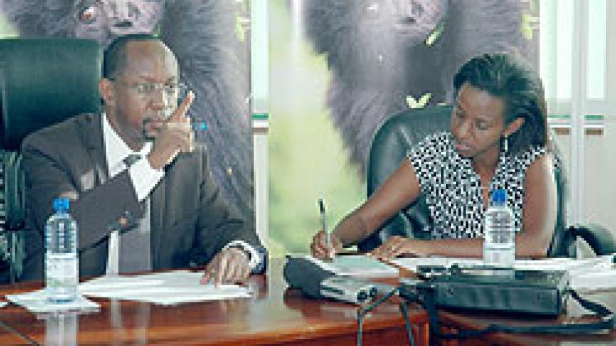 RDB's CEO John Gara briefing the media yesterday. On hisleft is the head of Tourism and Conservation, Rica Rwigamba (Photo / F. Goodman)