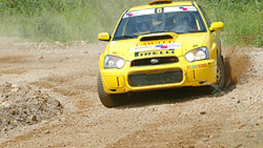 Giancarlo negotiates a corner during the 2008 Irushanwa rally at Gahanga. The rally ace will be back at it this afternoon. (File photo)