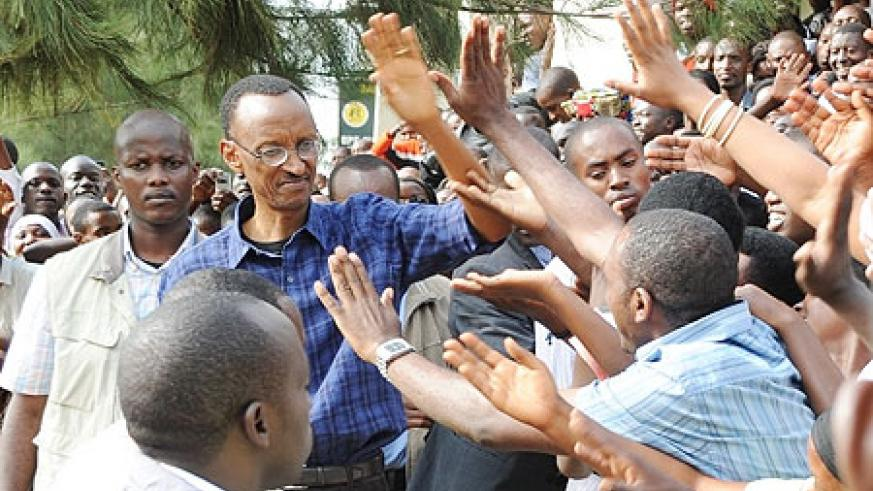 Excited crowds swarm President Kagame during his tour of the Central Business District in Kigali yesterday (Photo J. Mbanda)