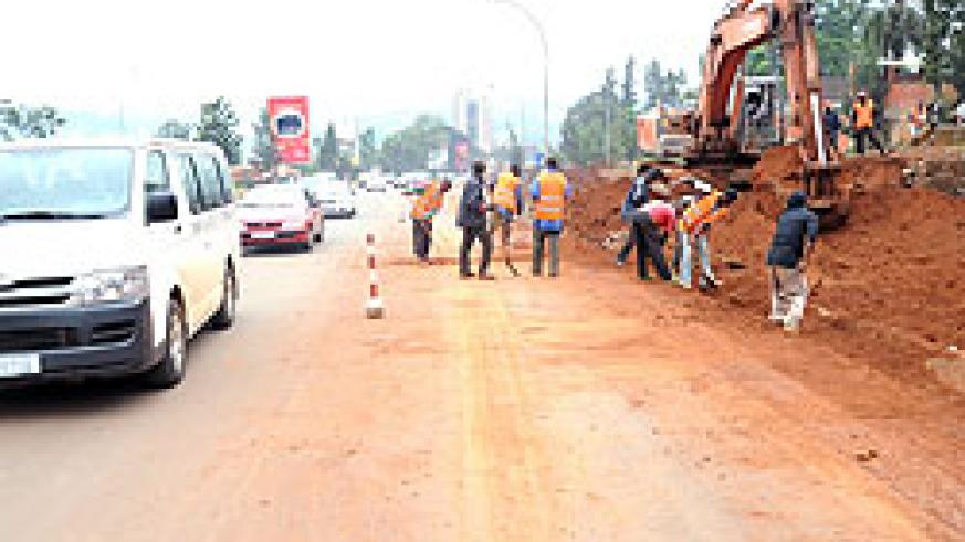 The Kanogo-City centre road expansion has started with only traffic heading to city being allowed access. City has commited a big part of its budget to infrastructure(Photo J Mbanda)