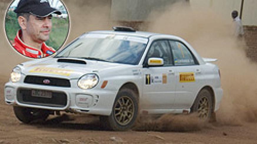 Cantanhede (Inset) powers his Subaru. He proved that class is permanent as he won this year's  KCB Mt. Gorilla rally. (File Photo)