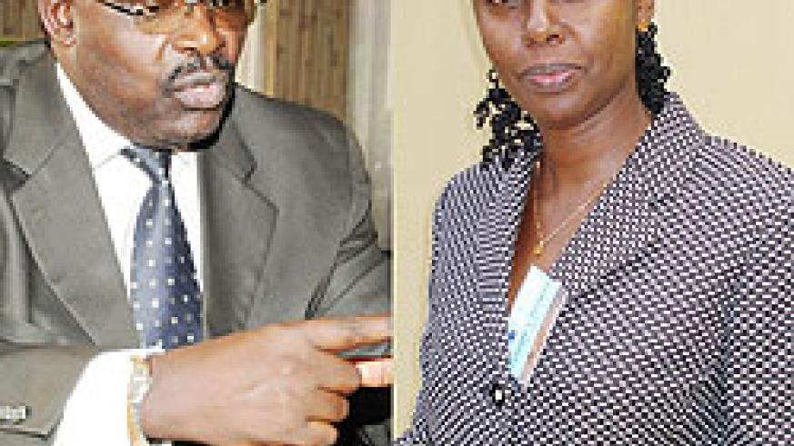 L-R : Francois Kanimba, the Central Bank Governor ; Consolate Rusagara, the Director Financial Systems Department at the World Bank