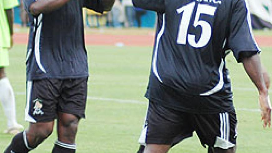 Chikuepo Msowoya (L) scored a brace yesterday to gift APR their second successive league title. (File Photo)