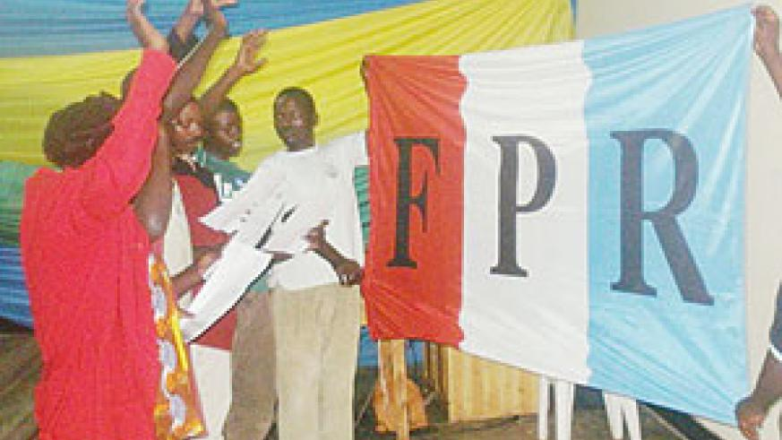 Some of the new RPF party members take their oath of allegience. (File photo)