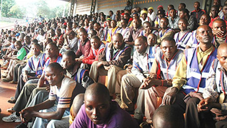 Commercial motorcyclists listening to KCC officials during the meeting on Wednesday (Photo; F. Goodman)