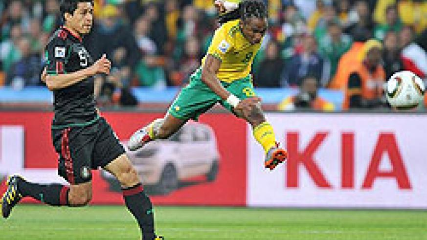 Soccer City erupts in the 55th minute as Siphiwe Tshabalala picks up the ball on the left before unleashing a stunning strike.