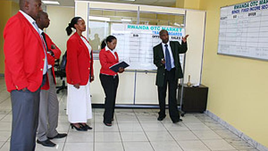 Stockbrokers at the Rwanda Over-the counter (ROTC) market.