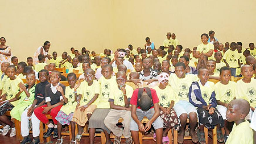 A cross section of children who turned up for the celebrations at Kimisagara Youth Centre yesterday  (Photo / F. Goodman)