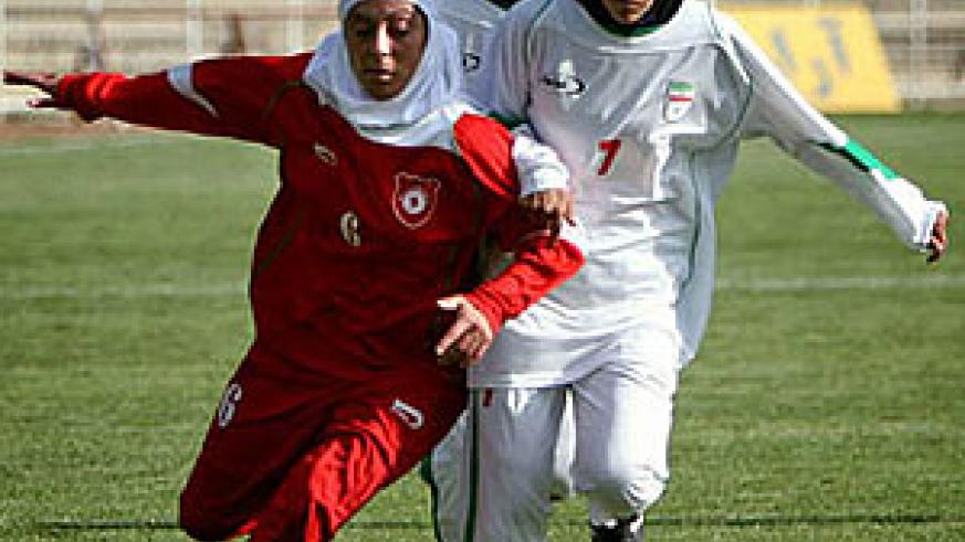 Iranian wome playing soccer.