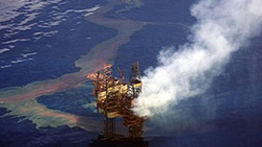 An aerial view of the BP oil well spewing into the Gulf of Mexico.