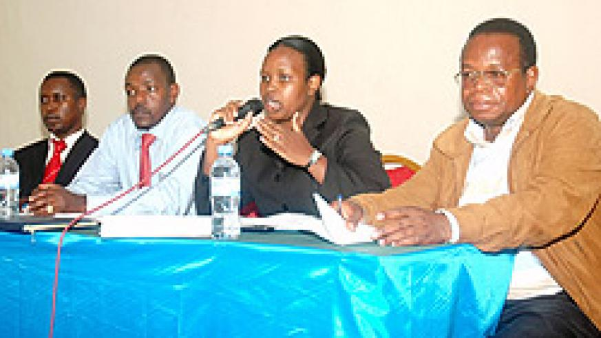 From Left, Desire Ndwaniye, Dr. Ndambe Nzaramba, Jackline Murekatete and Innocent Niyonsaba during the meeting yesterday (Photo; F. Goodman)