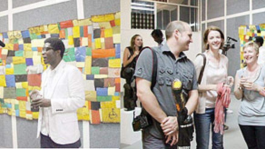 L-R : BEFORE THE CAMERA: Collin Sekajugo in an interview with journalists ; Some of the art lovers, who attended Collin's art exhibition.