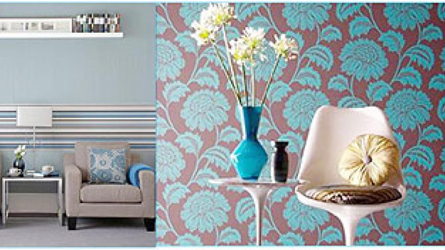 L-R : Wall paper doesn't have to fill up the entire wall, when used in strips the results can also be effective ; Bold floral prints can make a dramatic statement.