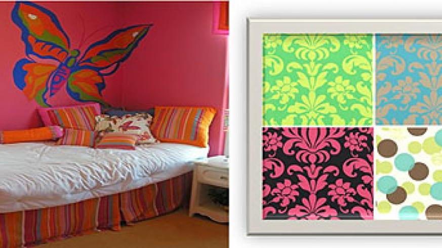 L-R : A child's room decorated with a butterfly print wall paper ; Different designs and colours of wall papers