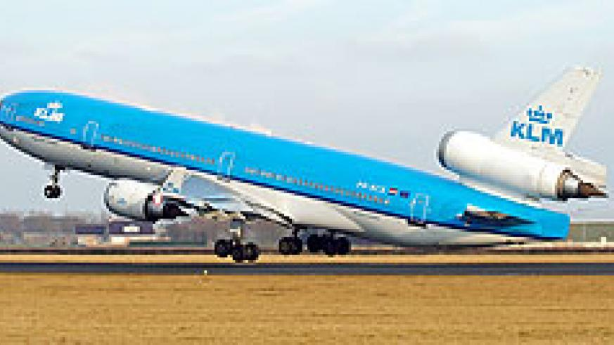 A KLM plane set to make it official maiden flight to Kigali. (File Photo)