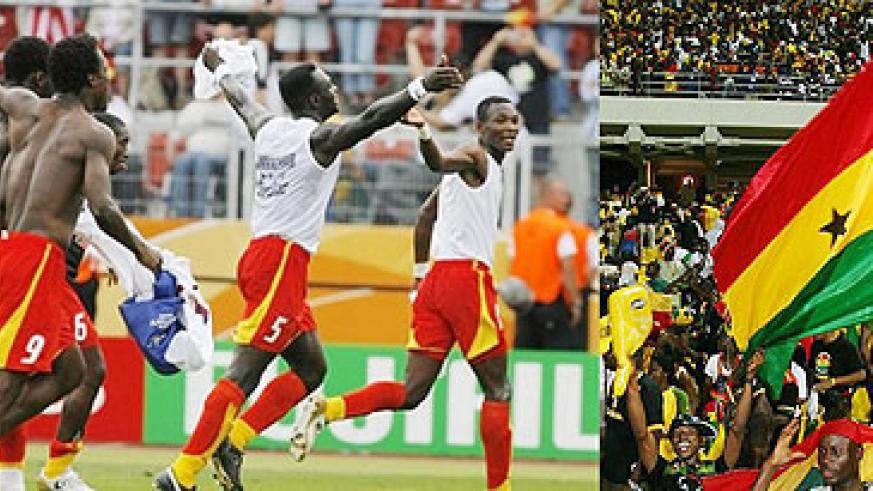 The Ghanian Black Stars celebrate their famous victory