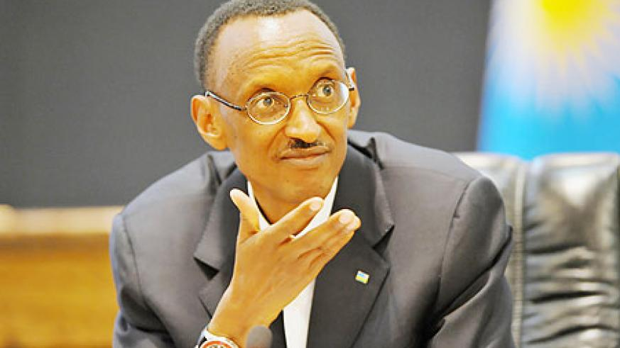 President Kagame during the press conference yesterday (Photo Urugwiro Village)