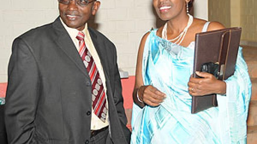 The Chairperson of the National Commission for UNESCO Dr Rose Gasibirege (R) with the Director of Culture in the Ministry of Sports and Culture, Straton Nsanzabaganwa (Photo; J. Mbanda)