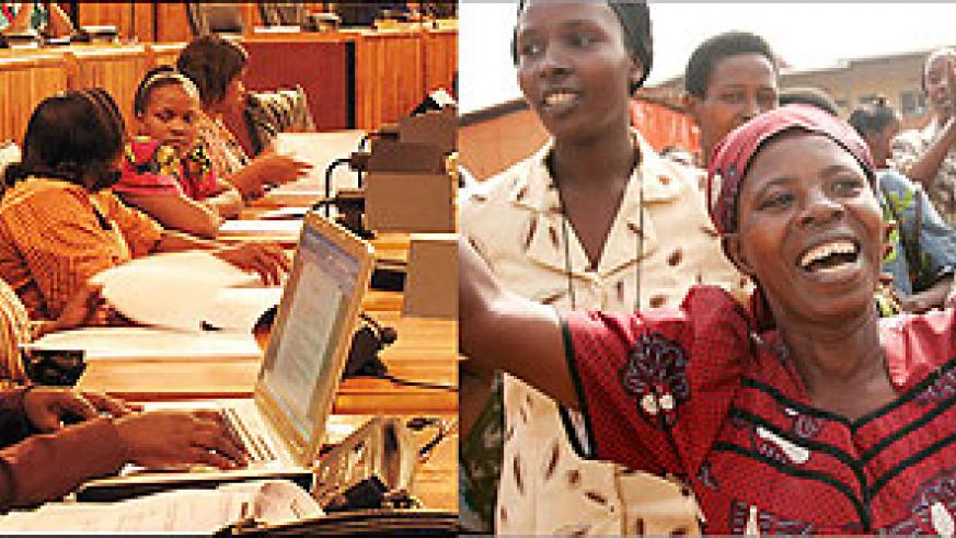 L-R : Rwanda holds the World record of having the highest number of women parliamentarians ; The media plays a big role in gender equality.