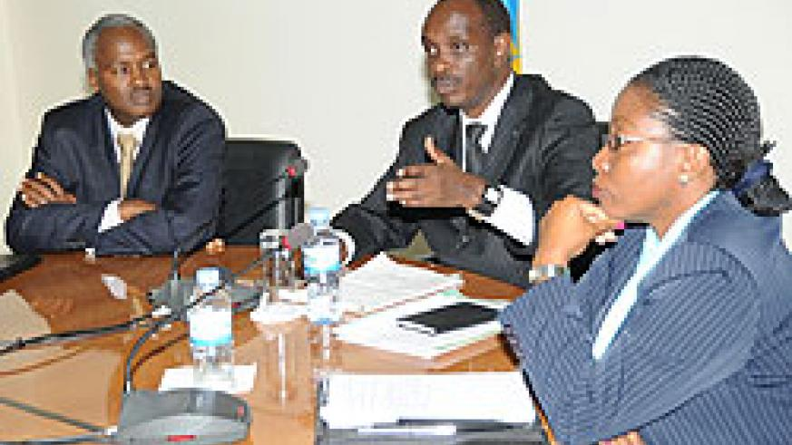 Health Minister Richard Sezibera (C),Education Minister Charles Murigande (L) and State Minister for Social Affairs Christine Nyatanyi at the Press conference. (Photo J Mbanda)