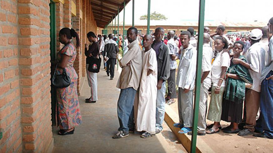 Voters line up to cast their vote in Kigali City in a past election. City residents have been urged to participate massively (File Photo)