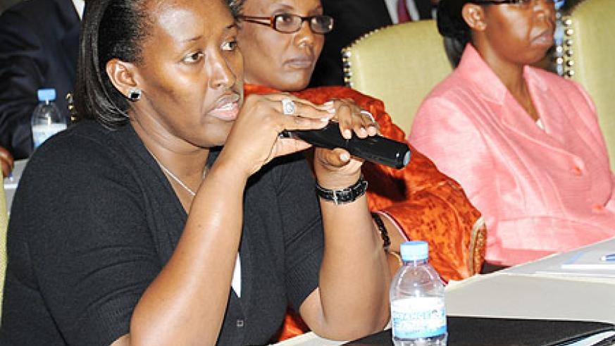 First Lady Jeannette Kagame speaks at the Unity Club meeting at Serena Hotel Yesterday. (Photo J Mbanda)