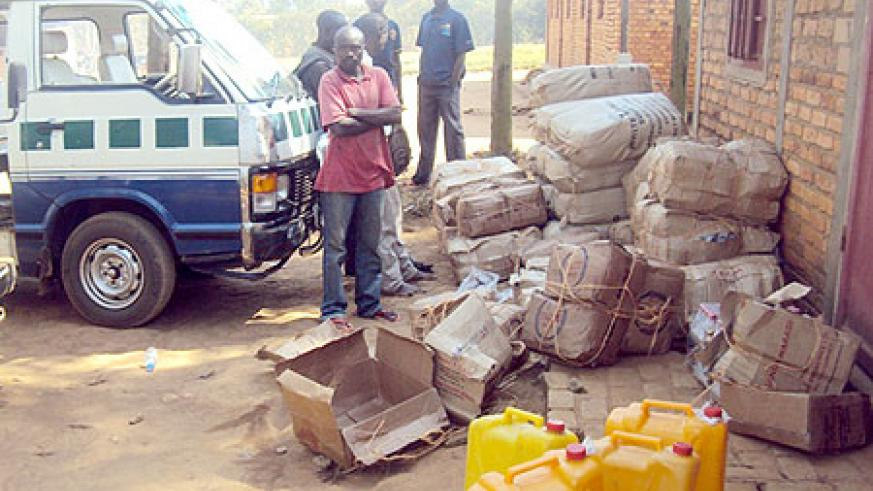 The impounded vehicle with illicit drugs at Nyagatare Police Post. (Photo / D. Ngabonziza)
