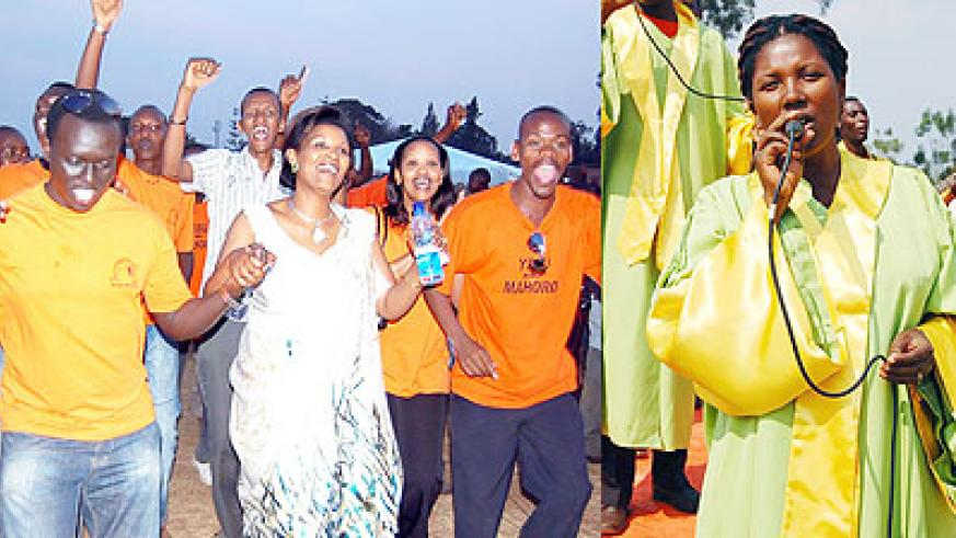 L-R : Pastor Liliose Tayi (clad in traditional dance) dance with some of her Church members ; A singer leads the choir into worship and praise songs.