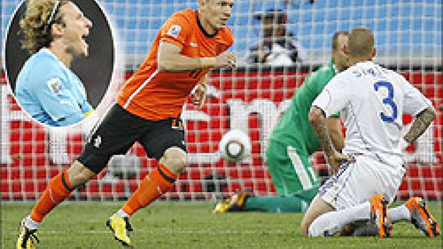 Robben wheels away after giving the Dutch the lead against Slovakia in the round of 16. Inset is Uruguay's striker Diego Forlan, whom the Dutch must beware of in today's semifinal clash.