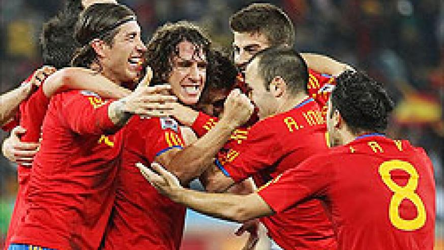 Puyol (C)is the hero as Spain beat Germany 1-0 to make their first ever World Cup final, where they will face the Netherlands.