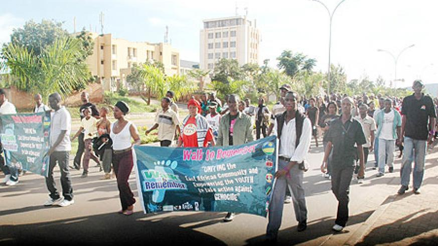 Youth from EAC partner states taking part in a march during the commemoration week. Rwandan youth will participate in AU forum in Kampala (File photo)
