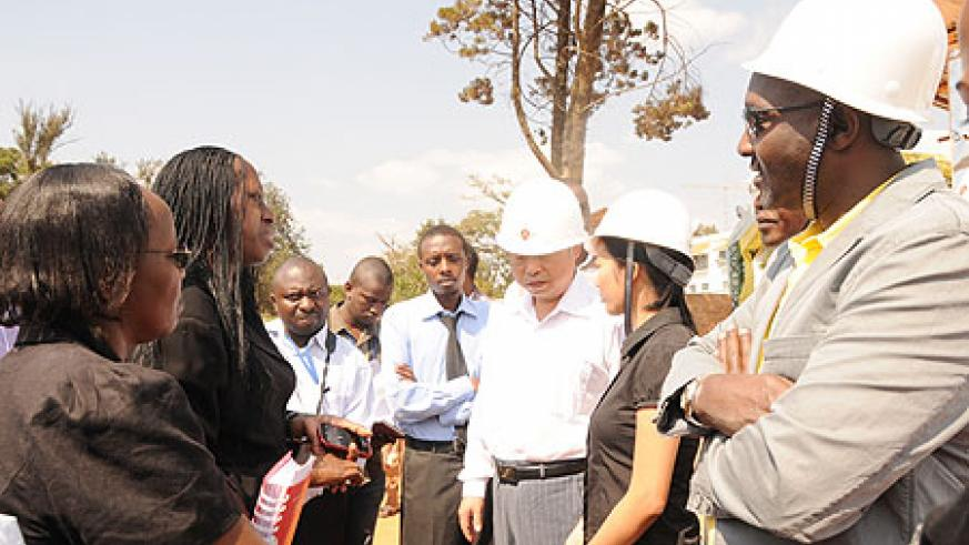 Kigali City Mayor Aisa Kirabo talks to City developers yesterday (File photo)