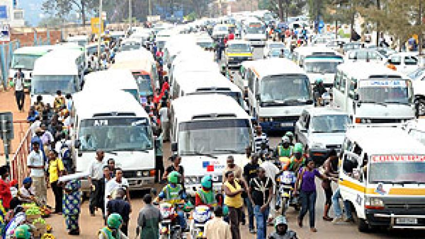 CONGESTION; Heavy traffic at Kwa Rubangura in downtown Kigali. City authorities have vowed to decongest traffic through construction of the Muhima Terminal  (Photo J Mbanda)