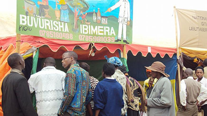 Some of the residents participate in the PSF Muhanga expo 2010. (Photo D.Sabiiti)