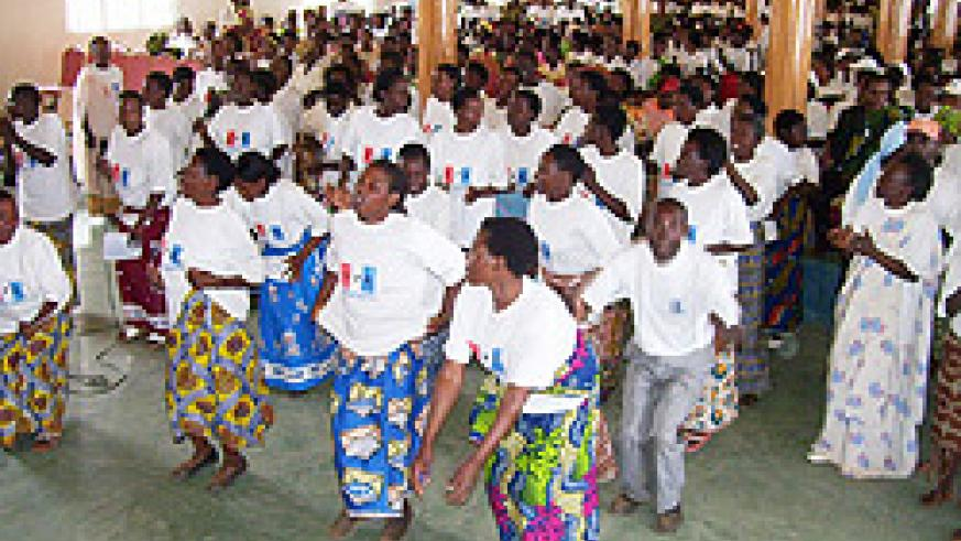 RPF women representatives dance to party songs during the women general assembly at Hotel Urumuli on Saturday (Photo; A.Gahene)