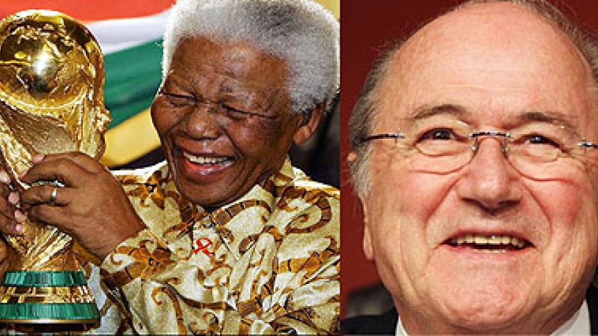 L-R :  Nelson Mandela's dream for a successful World Cup in Africa came true ; FIFA President Joseph S. Blatter.