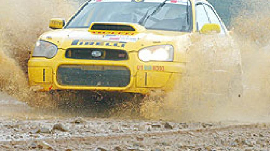 Giancarlo powers his Subaru during last year's national rally championship. (File Photo)