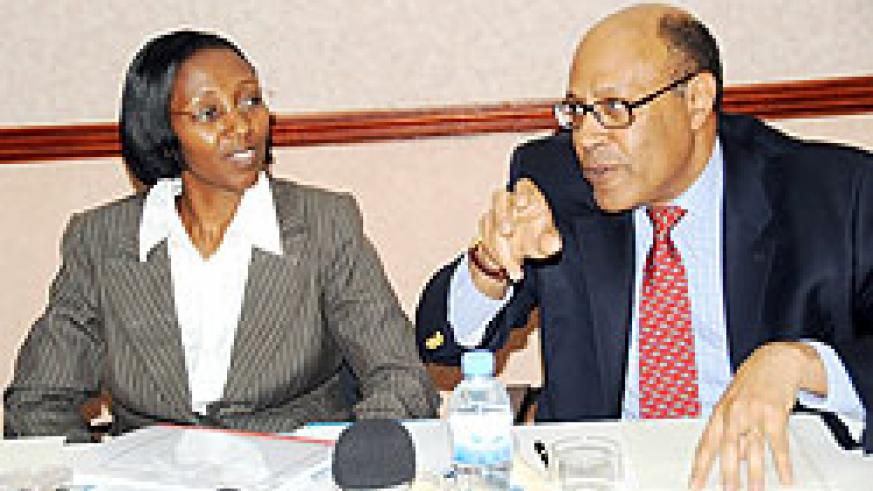 State Minister in charge of Energy Colletha Ruhamya (L) and ICF Chief Executive Officer Omari Issa at the press conference yesterday. (Photo: J. Mbanda)
