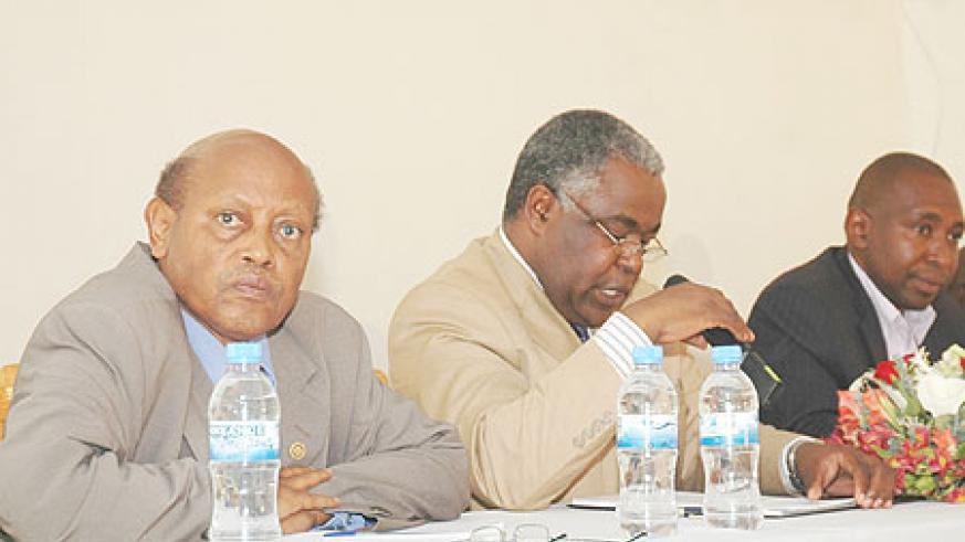 (L-R)Dr.James Vuningoma KIE vice Rector and Rector Prof. George Njoroge during the meeting (Photo; F. Goodman)