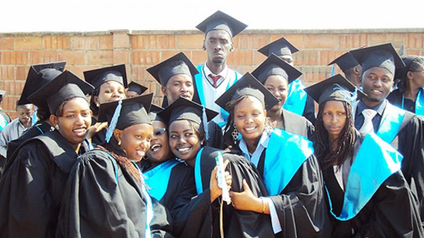 Some of the graduates wish each other well ahead of the ceremony in Kabgayi (Photo D. Sabiiti)